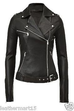 New Women's Leather Motorcycle Biker Jacket 100% Pure Soft Lambskin LJ#030 in Clothing, Shoes & Accessories, Women's Clothing, Coats & Jackets | eBay