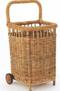 Small French Country Market Cart-antique, brocante,beach, wicker, willow,rattan,wheels,fleamarket,shopping,handled