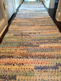 needlepointeranonymous:  Crochet rag rug made from t shirts, bed...