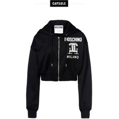 Moschino Zip Sweatshirt (£182) ❤ liked on Polyvore featuring tops, hoodies, sweatshirts, black, long sleeve sweatshirt, zipper top, zip sweatshirt, moschino and long sleeve tops