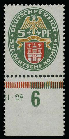 German Empire, 1923/32 Weimar Republic, Michel 425X. 5 5 Pf. help in need 1928, watermark 2 X (standing), visually alike mint never hinged causing lower margin copy, gum treated, higher signed Peschl BPP. Michel 4. 000,.? Rare stamp.