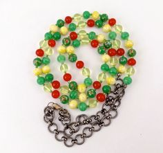 Long beaded necklace Vintage Japan colorful beads by TobysArtwear
