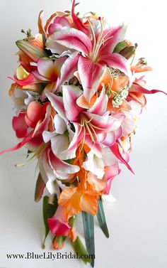 Beautiful Cascade Bridal Bouquet perfect for your destination wedding!  Cascade bouquet made with real touch flowers including fuchsia/white