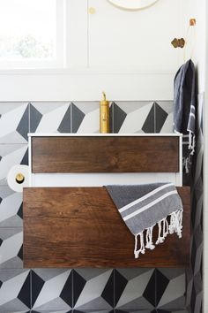 guesthouse bathroom reveal modern patterns and vintage touches create a bold bathroom