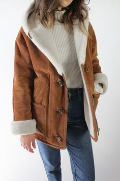 Vintage 90s Warm Brown Suede Shearling Sherpa Coat / VAUXSHOP.COM