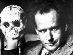 Sergei Eisenstein with a mexican candy skull
