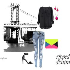 """""""In my city"""" by destitutediva on Polyvore #rippedjeans #skinnyjeans #strappysandals #heels #black #fashion #womenswear #outfit #style #clutch #hm #theiconic #boohoo #maxandchloe"""