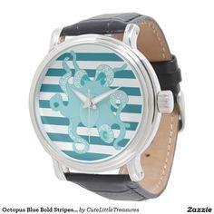 Octopus Blue Bold Stripes Watch