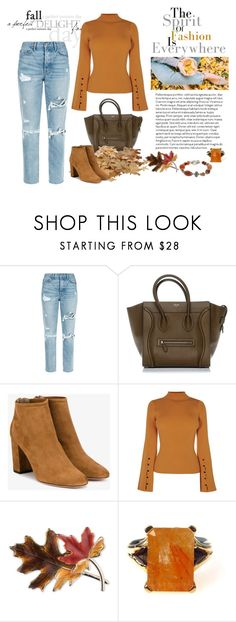 """""""Fall Look"""" by amelia-carnero ❤ liked on Polyvore featuring GRLFRND, Aquazzura, Anne Klein, Fall, orange, Sweater and FALLLOOK"""