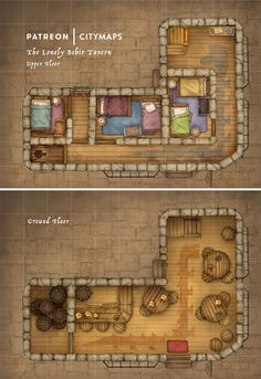 The Lonely Behir DnD Map – Belonging to an old and curmudgeonly lady, this tavern gives the street its name. Those lucky enough to have heard more than disjointed ramblings from the owner will have. Fantasy Inn, Fantasy City Map, Medieval Fantasy, Dungeon Tiles, Dungeon Maps, Dnd World Map, Pathfinder Maps, Pen & Paper, Building Map
