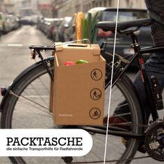 #EnergiaCreativa! #Ecodiseño, alforjas de cartòn para #bici y +! #GreenDesign #Ecodesign