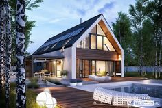 Projekt domu EX 19 energo plus Modern Barn House, Modern House Design, Modern Farmhouse Exterior, Dream House Exterior, Exterior Design, Modern Architecture, Future House, Building A House, New Homes