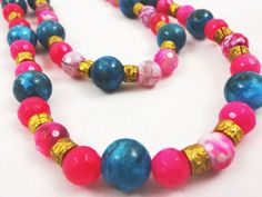 Two Strand Multi Faceted Blue and Pink Agate by banujewelryusa