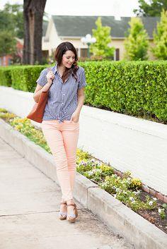 Peach jeans, checkered shirt