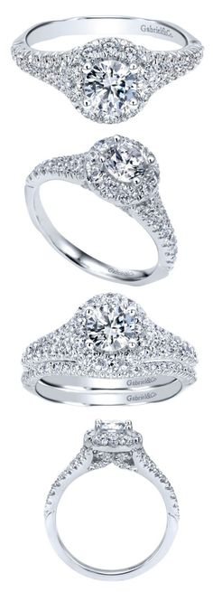 Gabriel & Co. - A sensational diamond halo engagement ring with a lovely round cut gem already picked out for the center.