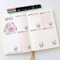Plan With Me: My April 2019 Bullet Journal Setup If you a. - Plan With Me: My April 2019 Bullet Journal Setup If you are looking for idea - Bullet Journal School, April Bullet Journal, Bullet Journal Monthly Spread, Bullet Journal Notebook, Bullet Journal Themes, Bullet Journal Inspo, Bullet Journal Layout, Bullet Journals, Letras Cool