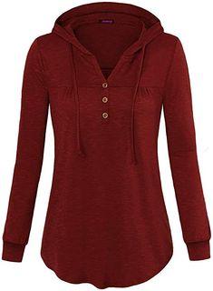 e51f445f7c5 Amazon.com  Anmery Juniors Hoodies and Sweatshirts Long Sleeve V Neck  Pleated Lightweight Hooded