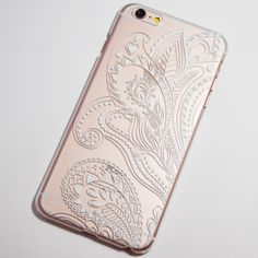 White Henna Floral Paisley iPhone 6 Plus / 6S Plus Transparent Hard Case