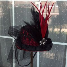 Red and Black Goth Steampunk Victorian Mini Top Hat by FourQueens