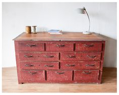 Red/brown old wooden cabinet