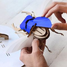 New video online 💗📽From flat paper to three dimensional sculpture in a 6 minutes video! 📽💗📦 Unpacking and finishing a deep blue Stag Beetle… Cardboard Sculpture, Cardboard Art, Book Sculpture, Paper Sculptures, Bug Crafts, 3d Paper Crafts, Diy Paper, Origami, 3d Puzzel