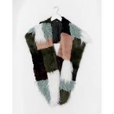 ASOS Faux Fur Multi Patchwork Oversized Scarf (€49) ❤ liked on Polyvore featuring accessories, scarves, fake fur scarves, oversized scarves, asos, fake fur shawl and faux fur scarves