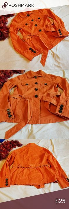 Caslon utility jacket Size small. Slightly faded Orange color. Some wear, but still in great shape. Has five button up buttons, last one hidden under flap of material by belt. 98% cotton. 2% spandex. Great fall light weight jacket! Caslon Jackets & Coats Utility Jackets
