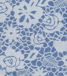 Azure Collection- Reversible Jacquard Floral Navy White Fabric