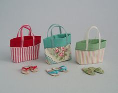 Beach Bag or Tote Red & White Stripes with by TinytownMiniatures