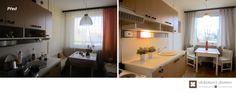 Home Staging částčně zařízeného panelového bytu v Praze Řepích, více info k tomuto projektu na http://ukazkovydomov.cz/2017/04/27/home-staging-castcne-zarizeneho-bytu-31-praha-repy/ #praha #prague #czech #homestaging #pred #po #before #after #white #walls #dining #jidelni #kout #kuchyn #kitchen #panelak