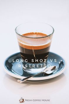 Have you tried all the different types of espresso yet? There are quite a few to explore, and new variations seem to be popping up to this day. Here is a couple you need to try the next time you're at a coffee shop, a long shot, and a ristretto. Let's take a deeper look into the similarities and differences between the two in our head-to-head comparison of a long shot vs. a ristretto. #coffee #espresso Coffee Canister, Coffee Spoon, Coffee Mugs, Coffee Lovers, Coffee Cream, Coffee Type, Black Coffee, Types Of Coffee Beans, Different Types Of Coffee