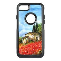 #country - #POPPIES IN TUSCANY / Landscape with Flower Fields OtterBox Commuter iPhone 7 Case