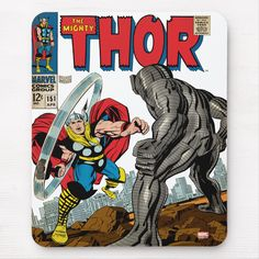 Shop The Mighty Thor Comic Mouse Pad created by marvelclassics. Vintage Comic Books, Vintage Comics, Destroyer Marvel, Thor Comic Book, Silver Surfer Comic, The Mighty Thor, Marvel Comics Art, Jack Kirby, Avengers