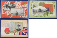 1922 Japanese Postcards Commemorative for the Visit of the Prince of the United Kingdom /  Photos of the Prince , Royal Navy Battlecruiser HMS Renown & Akasaka Palace , prince of wales / vintage antique old art card / Japanese history historic paper material Japan