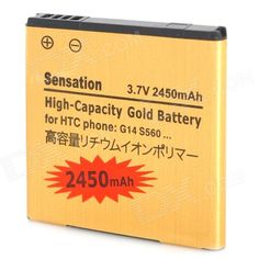 Quantity: 1 Piece; Color: Golden; Compatible Models: HTC Sensation G14 / EVO3D G17 / G18; Battery Type: Li-ion; Capacity: 2450 mAh; Voltage: 3.7 V; Features: Great replacement for your old, damaged or worn one; Packing List: 1 x Battery; http://j.mp/1ljR6eQ