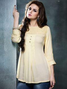 02b912143 Buy Kajree Fashion Cream Cotton Rayon 3 4th Sleeves Top online