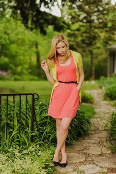 Our Hopscotch Dress in Coral styled by @Kayley Heeringa! color palettes, color combos, dress, outfit, lime, shoe, black, bright colors, belts