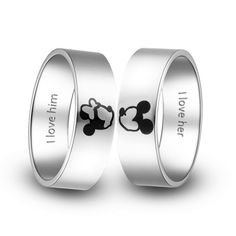 Titanium Wedding Rings Kissing Mickey And Minnie Couple Rings
