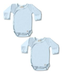 Another great find on #zulily! Pastel Blue Wrap Bodysuit - Set of Two #zulilyfinds