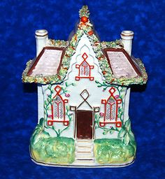"C 1850 Antique 8 1 2"" Tall Staffordshire English Cottage Pastille Burner House 