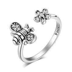 Sterling Silver  Bee & Daisy Flower Ring