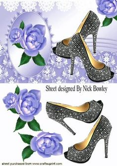 BLACK DIAMANTE SHOES WITH LILAC ROSES LACE on Craftsuprint - Add To Basket!