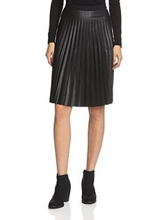 3c018cb433 Sfizio Women s Faux Leather Pleat Skirt (Black)