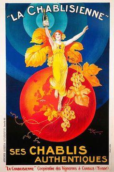 La Chablisienne Vintage French Liquor Advertising Poster