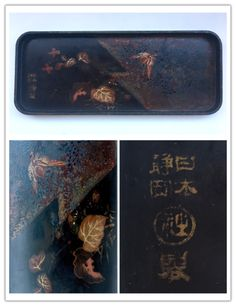 Japanese lacquer tray. The mark reads Nippon Shizuoka (日本静岡) followed by the round mark reading Sha (社) meaning company, then ending in Sei (製) made. Dimensions 23.4x9.5x1.3 cm.