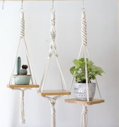 of the Most Creative Hanging Shelves Designs diy hanging shelves ideas, hanging shelves ideas living room, hanging shelves ideas shelf brackets, hanging shelves ideas bedroom, hanging shelves ideas picturesWood Macrame Shelf -- pretty simple and look Hanging Plants Outdoor, Indoor Plants, Wall Hanging Shelves, Hanging Storage, Deco Rose, Macrame Plant Holder, Blog Deco, Macrame Patterns, Macrame Knots
