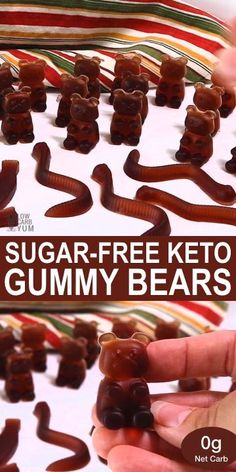 These homemade sugar free keto gummy bears are not only cute and delicious, they're also zero carb! This yummy snack is a great way to eat more healthy gelatin.