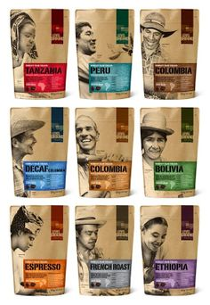Coffee world Packaging 用人物詮釋咖啡產地特色-包裝 | MyDesy 淘靈感