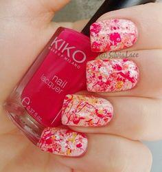 Silvia Lace Nails: Raspberry splatter nails
