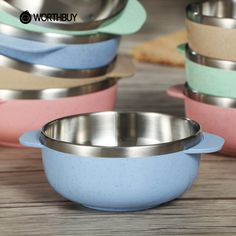 WORTHBUY 1 Pcs Mini Cute Stainless Steel Kids Bowl Plastic Wheat Straw Soup Salad Rice Bowls Food Container For Children Gifts Rice Bowls, Salad Bowls, Soup And Salad, Wheat Straw, Kitchen Ware, Food Containers, Fruit Recipes, Kids Meals, Gifts For Kids